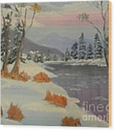 Snowy Day In Europe Wood Print