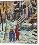 Snowy Day Rue Fabre Le Plateau Montreal Art Winter City Scenes Paintings Carole Spandau Wood Print