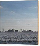 Snowy Farmfield Wood Print