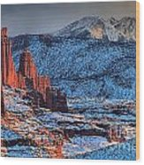 Snowy Fisher Towers Wood Print