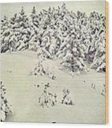Snowy Forest Vintage Wood Print