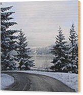 Snowy Gorge Wood Print