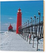 Snowy Grand Haven Pier Wood Print