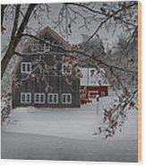 Snowy Grey And Red Wood Print