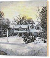 Snowy Home Wood Print