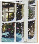 Snowy Inn Window Wood Print