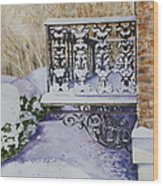 Snowy Ironwork Wood Print