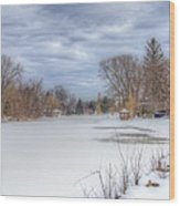 Snowy Lake Wood Print
