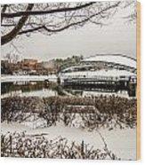 Snowy Landscape At Symphony Park Charlotte North Carolina Wood Print