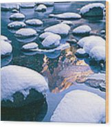 Snowy Merced River With Reflection Wood Print
