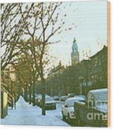 Snowy Montreal Winters City Scene Paintings Verdun Memories Church Across The Street Wood Print
