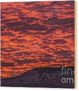 Snowy Mountain Sunset Wood Print
