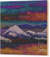 Snowy Mountains On A Colorful Winter Night Wood Print