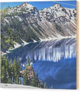 Snowy Mountains Reflected In Crater Lake Wood Print