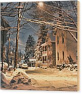 snowy night in Northampton Wood Print by HD Connelly