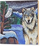 Snowy Night Wolf Wood Print