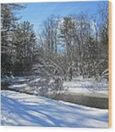 Snowy Otter Brook Wood Print