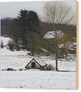 Snowy Pennsylvania Farm Wood Print