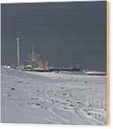 Snowy Piers Wood Print by Laura Wroblewski