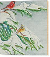 Snowy Pines And Cardinals Wood Print