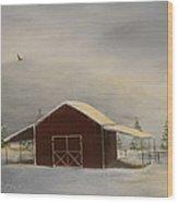 Snowy Red Barn Wood Print