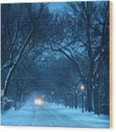 Snowy Road On A Winter Evening Wood Print