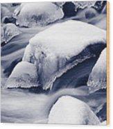 Snowy Rocks Wood Print