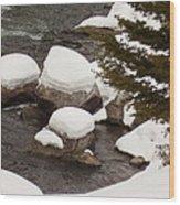 Snowy Rocks Wood Print by Yvette Pichette