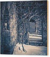Snowy Ruins At Night Wood Print