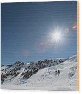 Snowy Ski Resort Wood Print