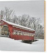 Snowy Spain Creek Covered Bridge 1870s Wood Print