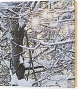 Snowy Sunbursts Wood Print