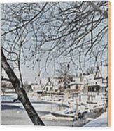 Snowy View Of Boathouserow Wood Print