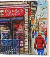 Snowy Walk By The Tea Room And Pastry Shop Winter Street Montreal Art Carole Spandau  Wood Print