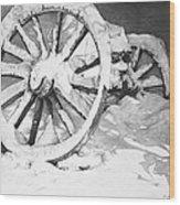 Snowy Wheel  Wood Print