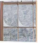 Snowy Window Wood Print