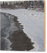 Snowy Winter Beach Patterns - Lake Ontario Toronto Canada Wood Print