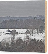 Snowy Winter Farmscape Wood Print