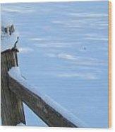 Snowy Wood Fence Wood Print