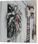 Snowy Wreath  Wood Print