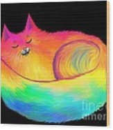 Snuggle Cat Wood Print