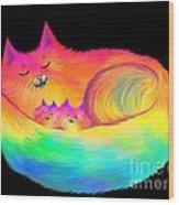 Snuggle Cats Wood Print