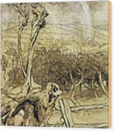 So Nobody Can Quite Explain Exactly Where The Rainbows End Wood Print by Arthur Rackham