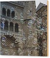 Soap-bubbles In Front Of An Ancient Cathedral Wood Print