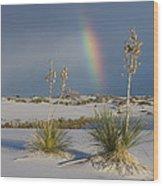 Soaptree Yucca And Rainbow White Sands Wood Print