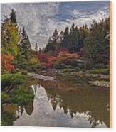 Soaring Autumn Colors In The Japanese Garden Wood Print