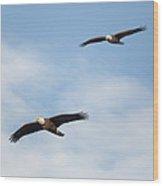 Soaring Bald Eagles Square Wood Print