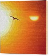 Soaring In The Sunset Wood Print