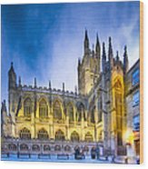 Soaring Perpendicular Gothic Architecture Of Bath Abbey Wood Print
