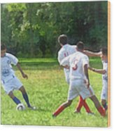 Soccer Ball In Play Wood Print